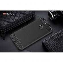 Honor 8 Lite ütésálló, karbon mintás, szilikon tok, fekete