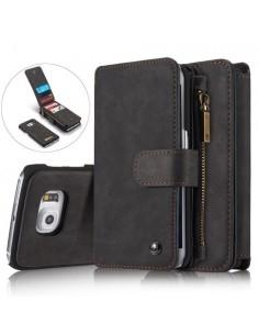 CASEME multifunkciós fekete telefontok pénztárca Samsung Galaxy S6 EDGE készülékhez