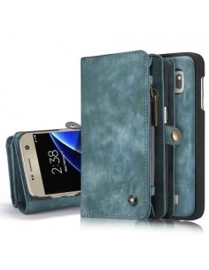 CASEME multifunkciós kék telefontok pénztárca Samsung Galaxy S7 edge készülékhez