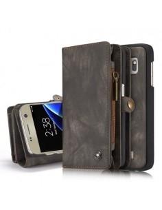CASEME multifunkciós szürke telefontok pénztárca Samsung Galaxy S7 edge készülékhez