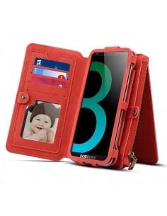 DIBASE multifunkciós piros telefontok pénztárca Samsung Galaxy S9 készülékhez