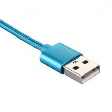 USB Type-C csatlakozású töltőkábel, adatkábel - 1 m-es - Kék