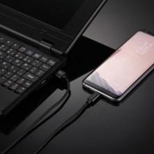 USB Type-C csatlakozású töltőkábel, adatkábel - 3 m-es - Fekete