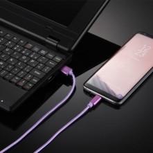 USB Type-C csatlakozású töltőkábel, adatkábel - 2 m-es - Lila