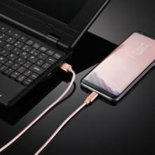 USB Type-C csatlakozású töltőkábel, adatkábel - 2 m-es - Rózsaarany