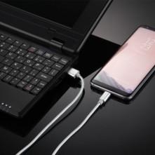 USB Type-C csatlakozású töltőkábel, adatkábel - 2 m-es - Ezüst