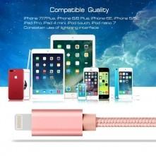 Apple Lightning csatlakozású töltőkábel, adatkábel - 1 m-es - Rózsaarany