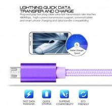 MicroUSB csatlakozású töltőkábel, adatkábel - 2 m-es - Lila