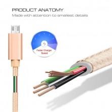 MicroUSB csatlakozású töltőkábel, adatkábel - 2 m-es - Arany
