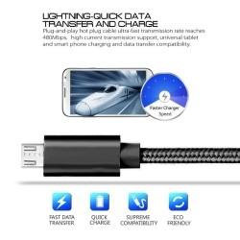 MicroUSB csatlakozású töltőkábel, adatkábel - 1 m-es - Fekete