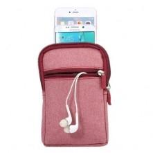 Övre fûzhetõ 3 rekeszes cipzáras telefontok övtáska - PINK