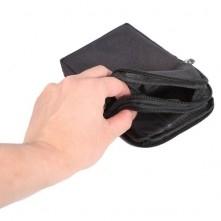 Övre fûzhetõ 3 rekeszes cipzáras telefontok övtáska - FEKETE
