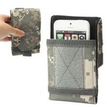 Univerzális terep mintás mobiltelefon tok 4 inches készülékekhez - ZÖLD
