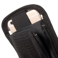 Kerékpárra rögzíthetõ tok 2 oldalsó rekesszel 8.5x16 cm-es telefonokhoz - FEKETE