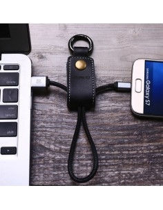 REMAX bõr kulcstartó Micro USB töltõ kábel karabinerrel - FEKETE
