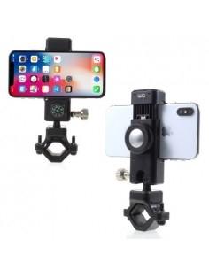 Univerzális LED lámpás kerékpár kormányra rögzíthetõ telefontartó - 50-90 mm - FEKETE