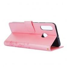 Dombornyomott oldalra nyíló tok Huawei P30 Lite készülékhez, rózsaarany, pillangó mintás