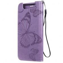 Dombornyomott oldalra nyíló tok Samsung Galaxy A80 készülékhez, lila, pillangó mintás