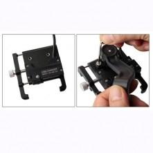 GUB G-91-A kormányra rögzíthetõ aluminium telefon állvány töltõvel 55-100 mm széles készülékekhez - FEKETE